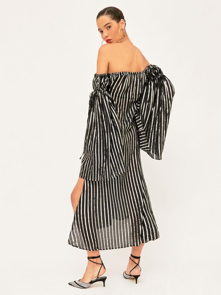 The Attico Dress Black And Silver Stripes 3