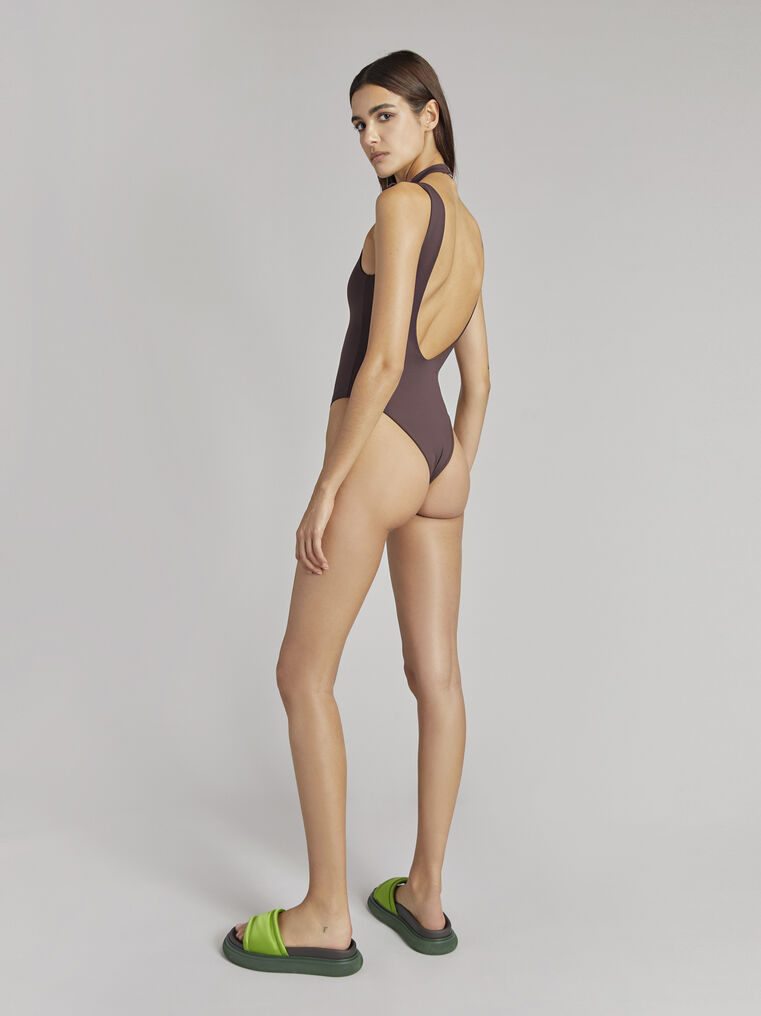 THE ATTICO Matte coffee swimsuit 3