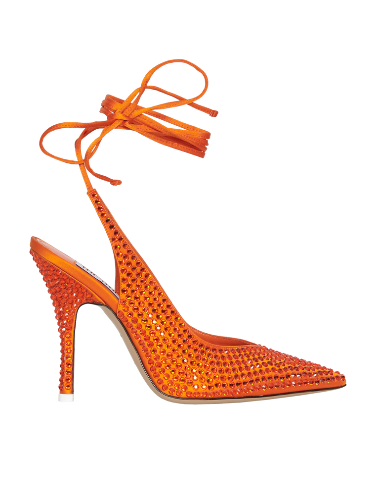 The Attico Venus orange slingback pumps with crystals 3