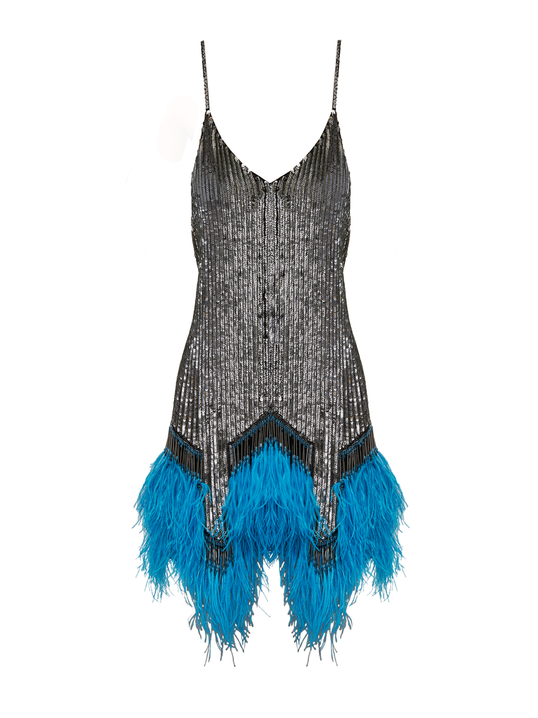 The Attico Embro And Ostrich Feathers Strapless Mini Dress 4