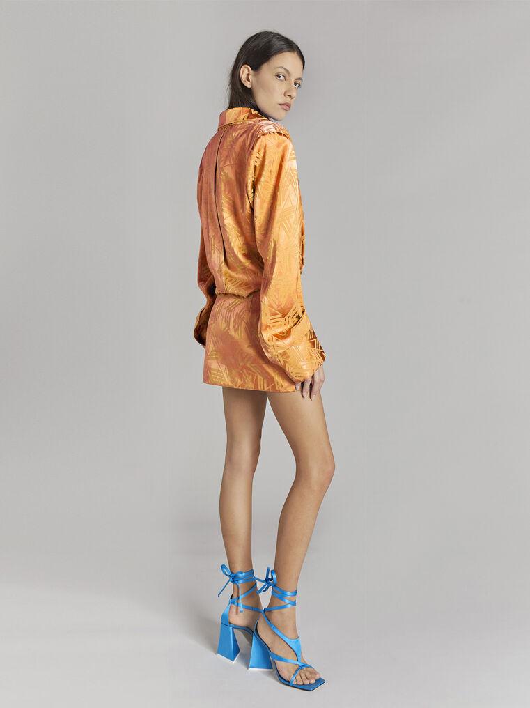 "THE ATTICO ""Margot"" neon orange chemisier mini dress 3"