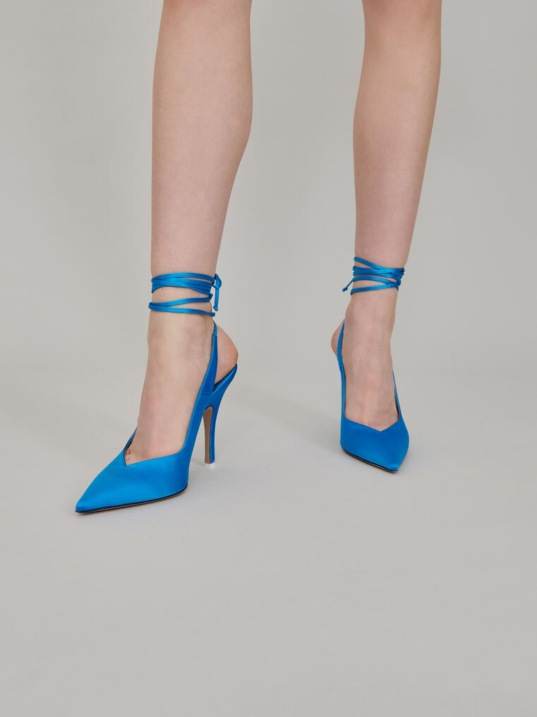 "The Attico Blue satin ""Venus"" slingback 1"