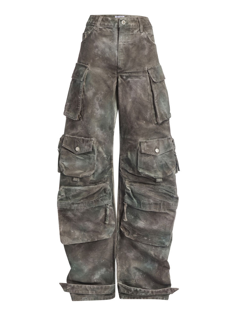 """THE ATTICO """"Fern"""" camouflage green pants 4"""