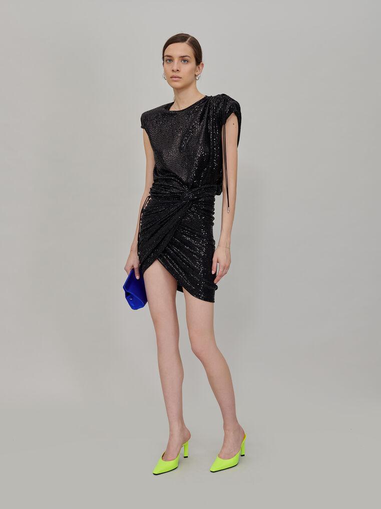 The Attico Black draped mini skirt 1