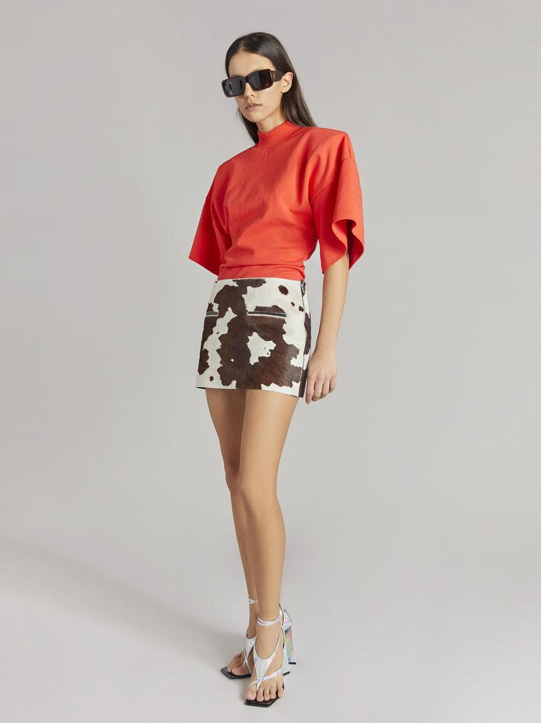 """THE ATTICO """"Edie"""" natural cow print mini skirt 1"""