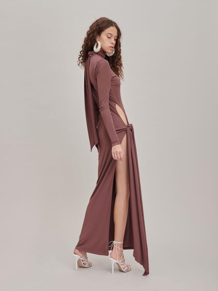 """The Attico """"Camille"""" brown knotted midi dress 2"""