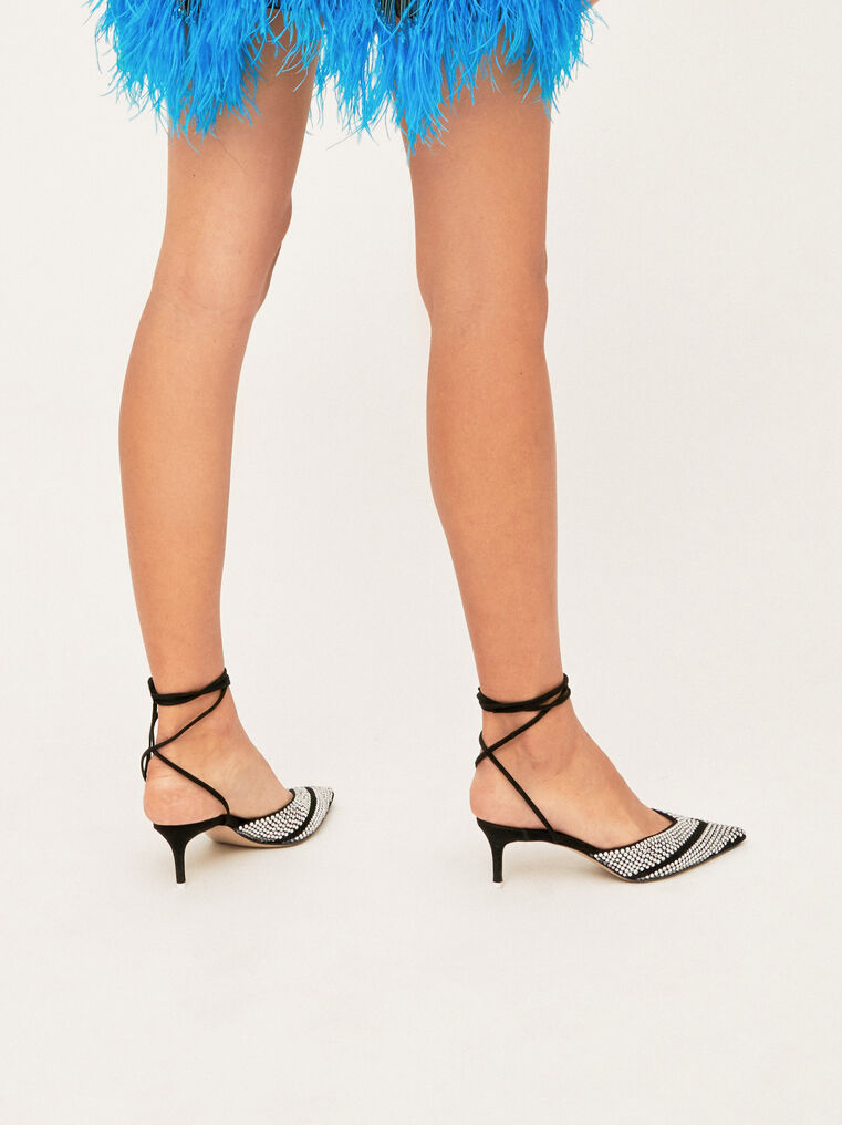 The Attico Kitten Heel Ankle Strap With Strass 2