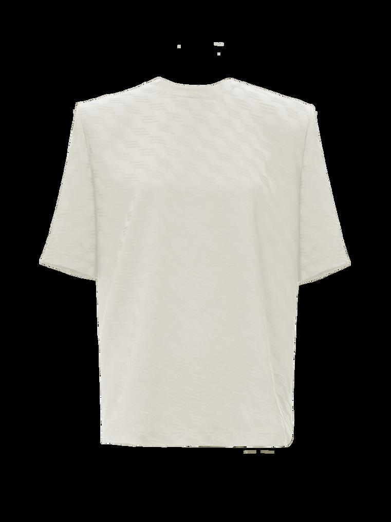 "The Attico ""Bella"" monogram white t-shirt with shoulder pads 4"