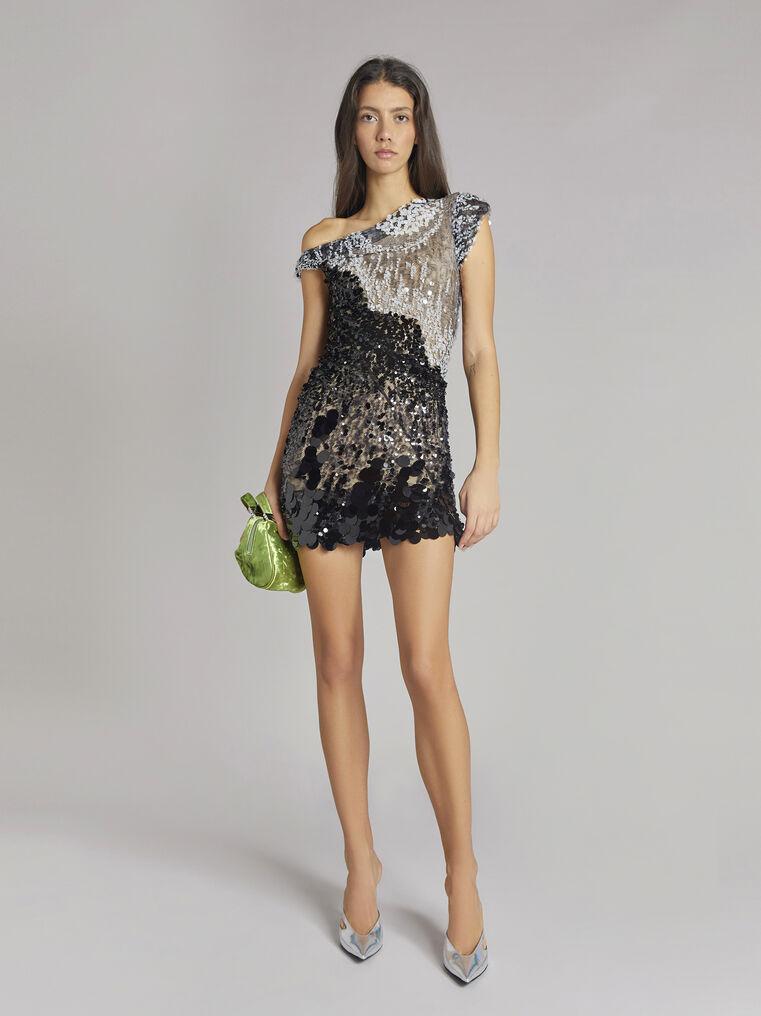 THE ATTICO Twisted iridescent black mini dress 1