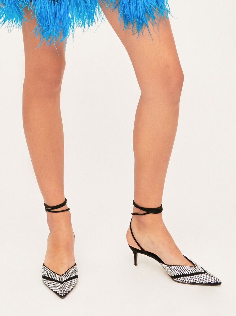 The Attico Kitten Heel Ankle Strap With Strass 1