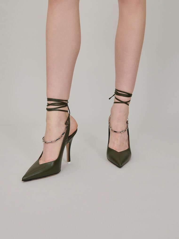 "The Attico Ivy green nappa leather ""Venus"" slingback with chain anklet 1"