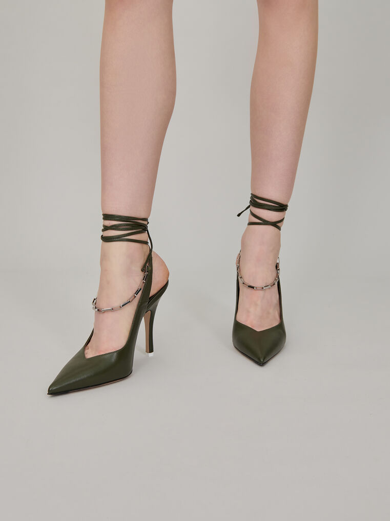 """The Attico """"Venus"""" ivy green slingback with chain anklet 1"""