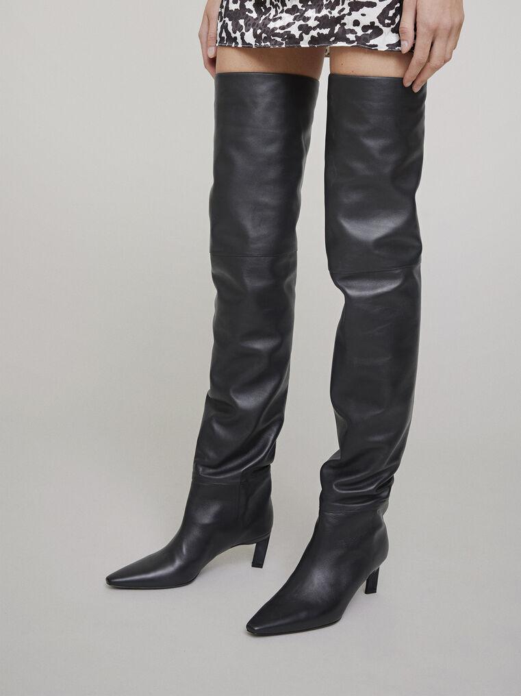 The Attico Black thigh high boot 1
