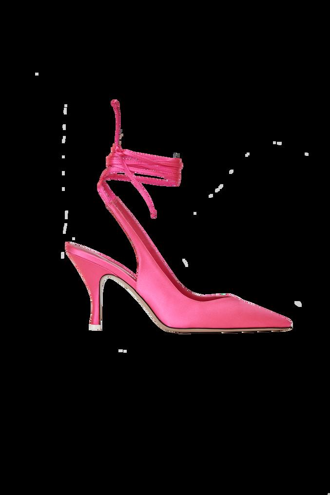 "The Attico Pink satin ""Venus"" slingback, heel height 85mm 4"