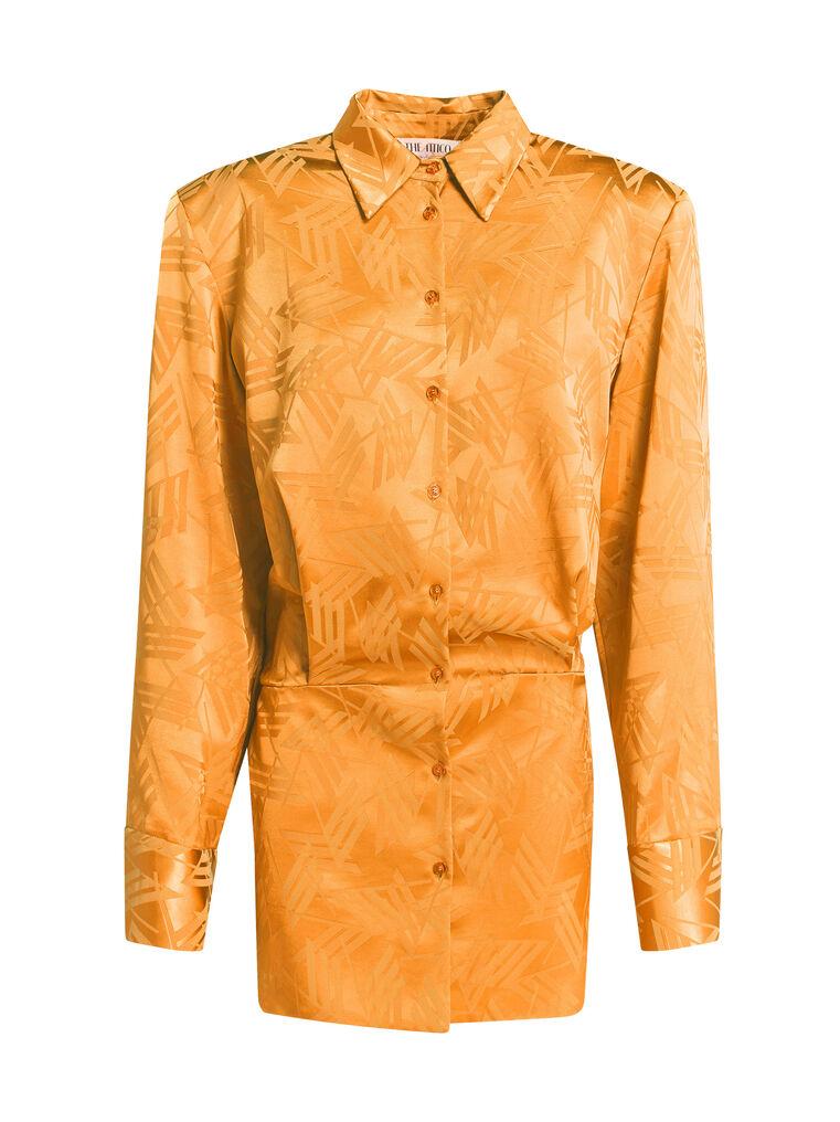 "THE ATTICO ""Margot"" neon orange chemisier mini dress 4"