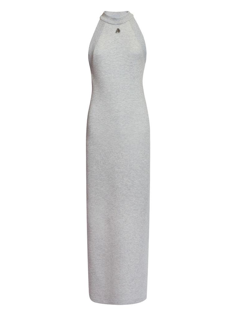 """THE ATTICO """"Ema"""" light grey long dress 4"""
