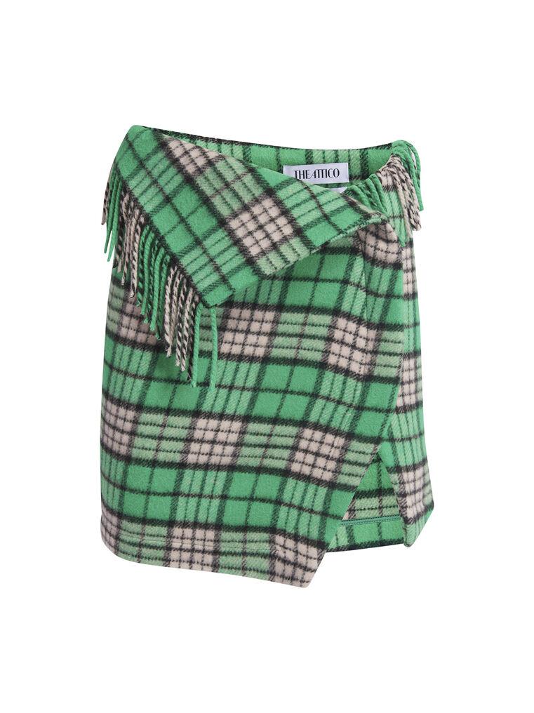 """THE ATTICO """"Lia"""" emerald and pink peach mini skirt 4"""