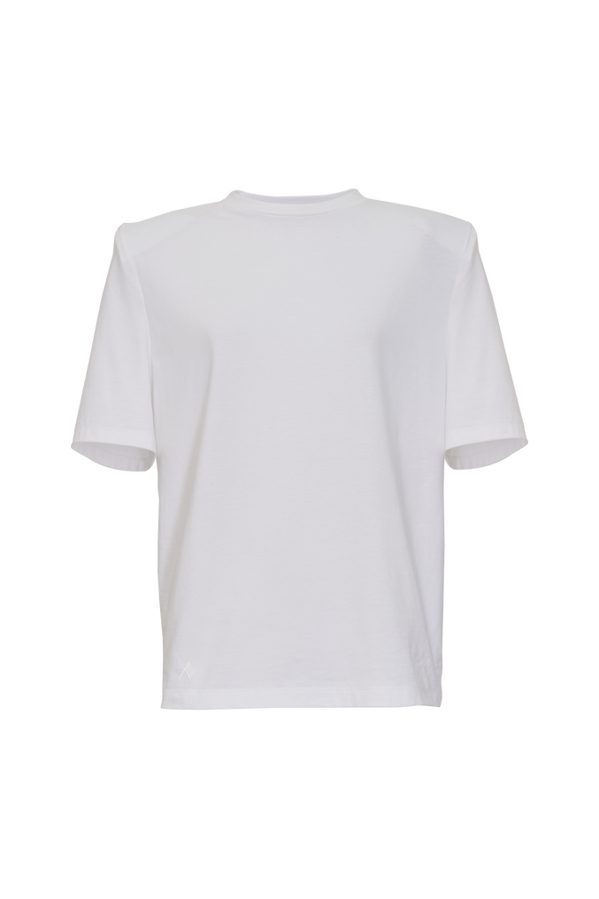 """The Attico """"Bella"""" white t-shirt with shoulder pads 4"""