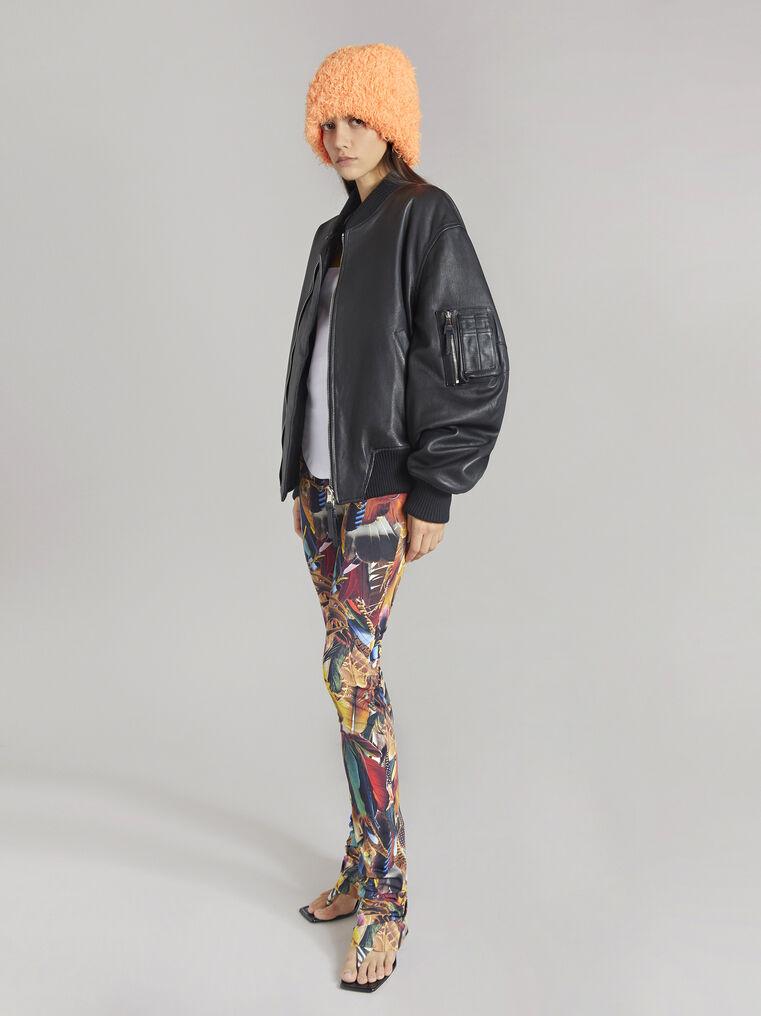 THE ATTICO Multicolor feathers printed leggings 1