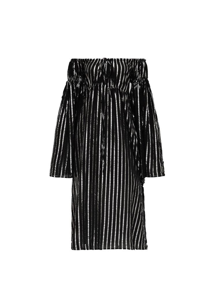 The Attico Dress Black And Silver Stripes 4