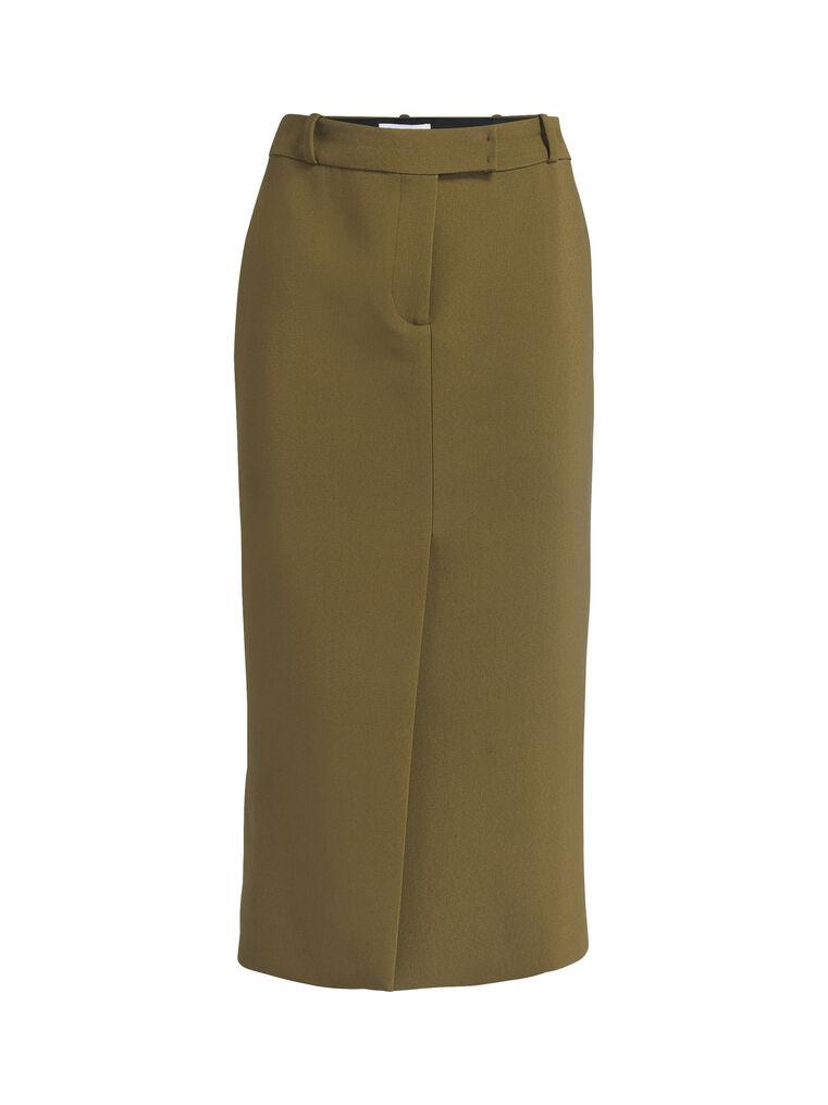 "THE ATTICO ""Cat"" military green midi skirt 5"