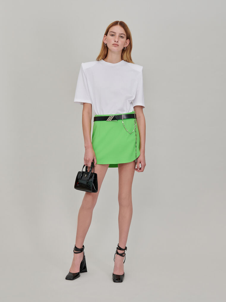 """The Attico """"Bella"""" white t-shirt with shoulder pads 1"""