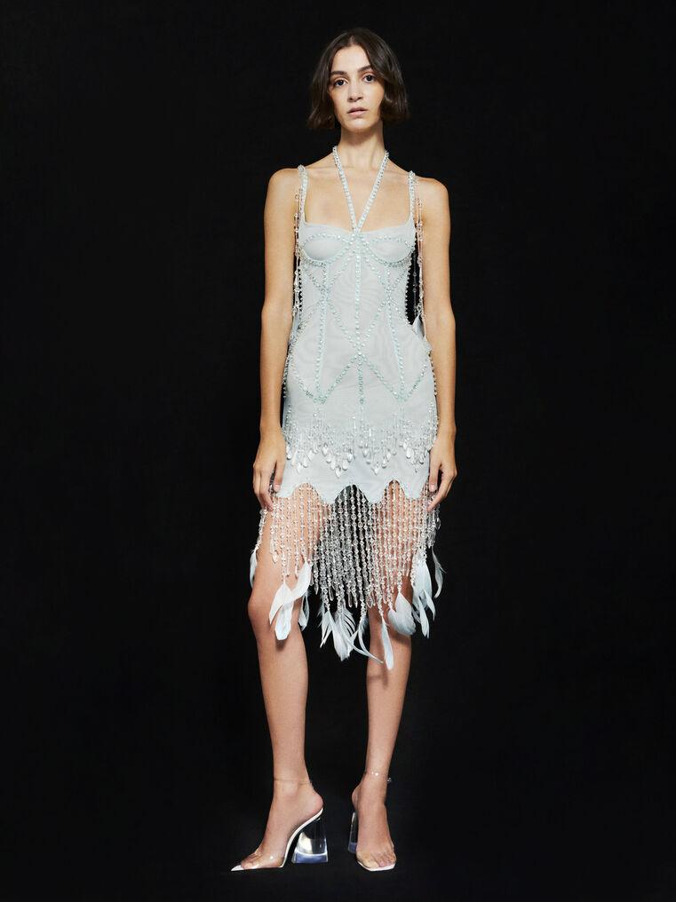 THE ATTICO ''Lily'' aquamarine bustier mini dress 1