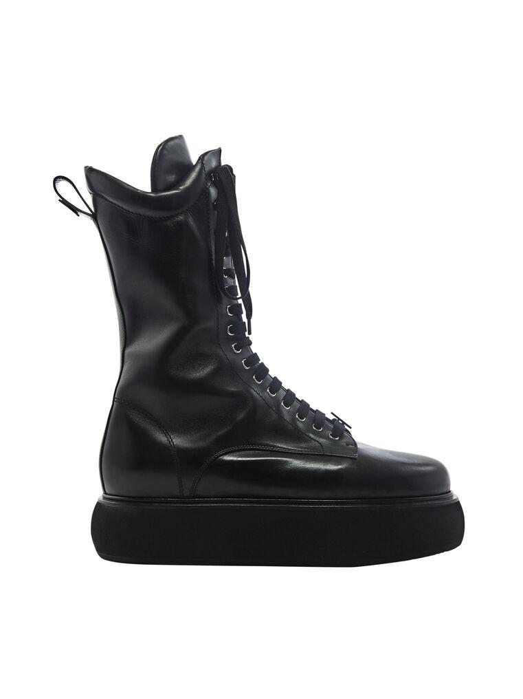 "THE ATTICO ""Selene"" black flat medium boots 4"