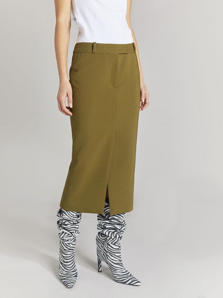 "THE ATTICO ""Cat"" military green midi skirt 2"