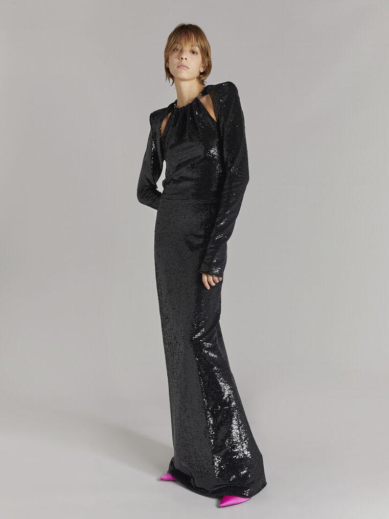THE ATTICO ''Luna'' black long dress 1