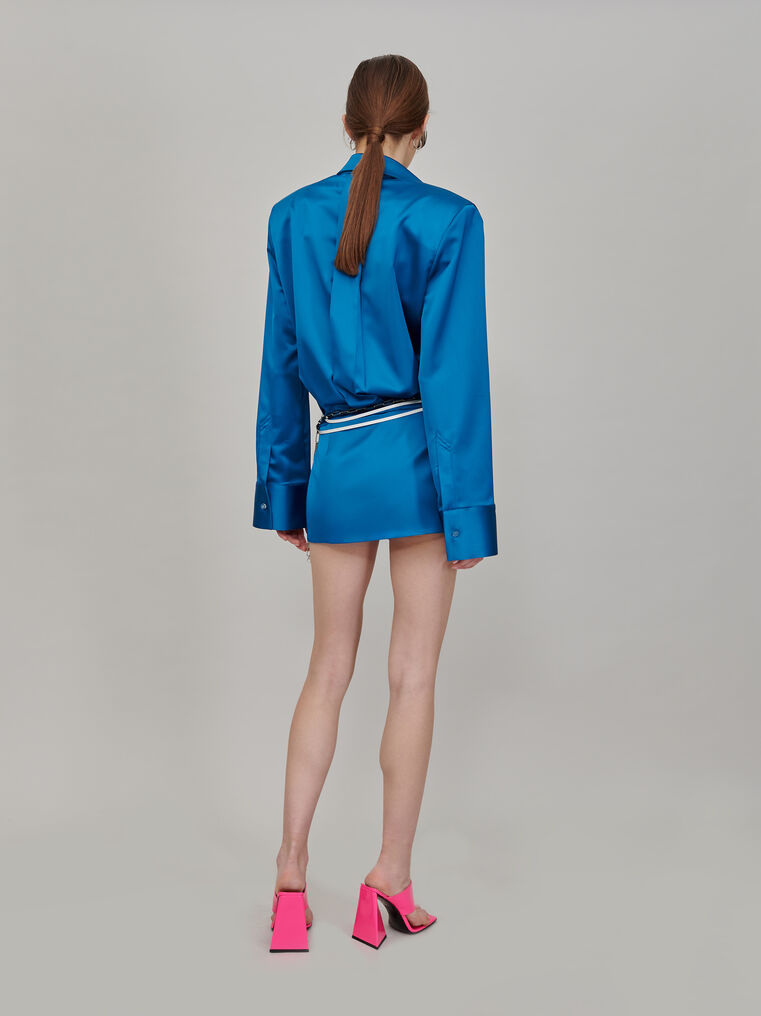 """The Attico """"Margot"""" mini dress chemisier with shoulder pads 3"""