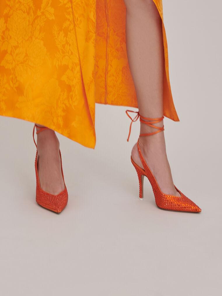 The Attico Venus orange slingback pumps with crystals 1