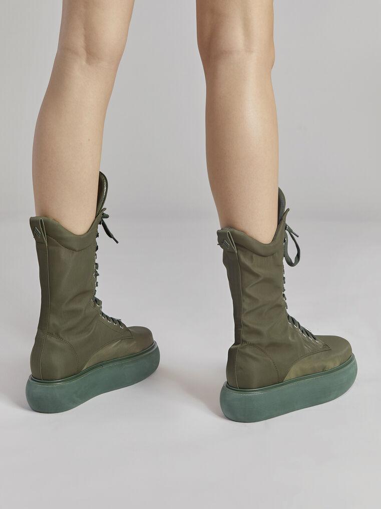 "THE ATTICO ""Selene"" military green boots flatform 3"