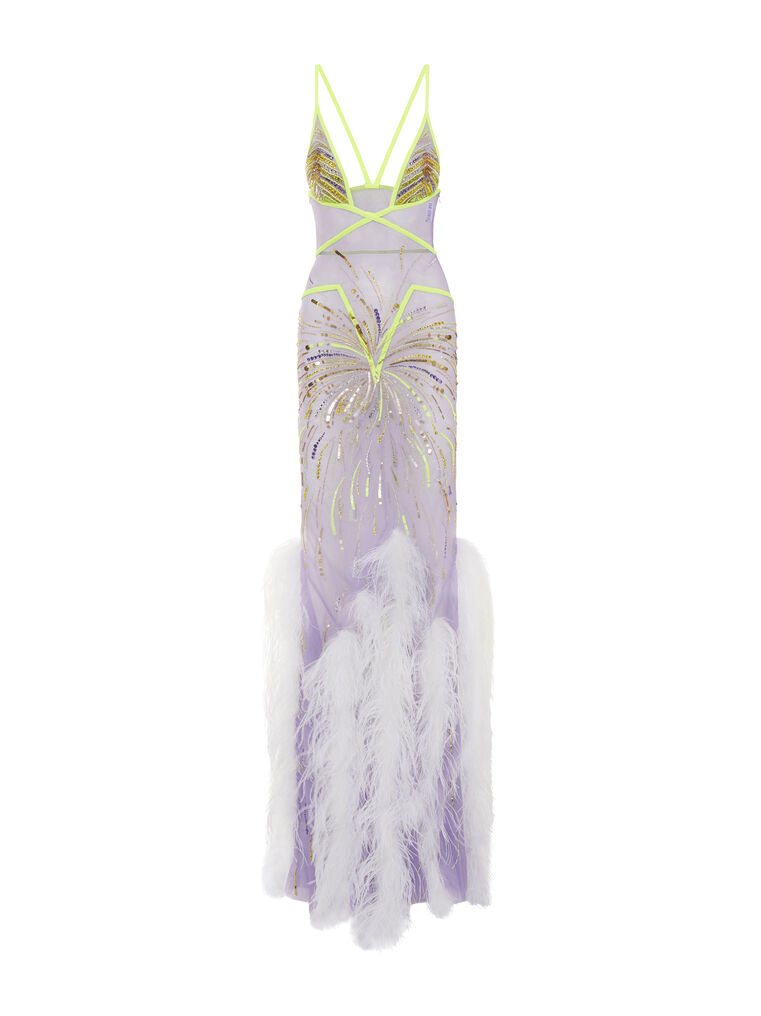 THE ATTICO ''Orchid'' lilac long dress 4