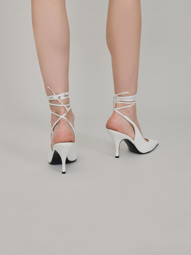 "The Attico White nappa leather ""Venus"" slingback, heel height 85mm 3"