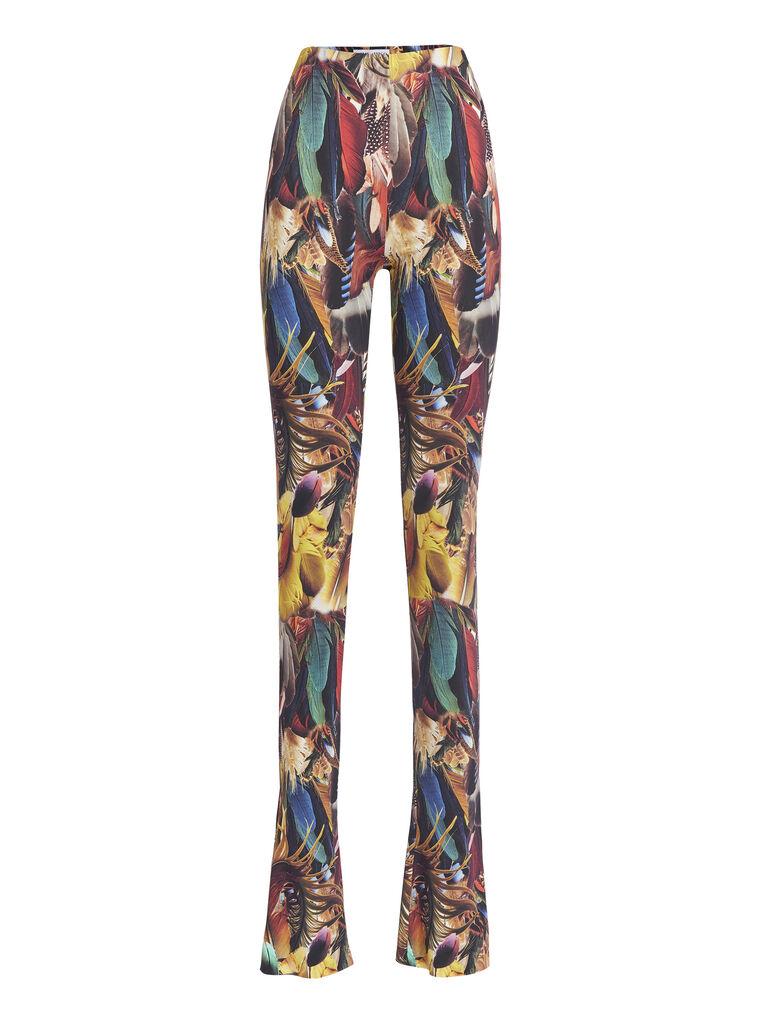 THE ATTICO Multicolor feathers printed leggings 4