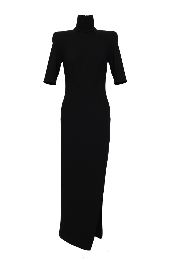 "The Attico ""Eva"" midi dress with turtle neck and slit 4"
