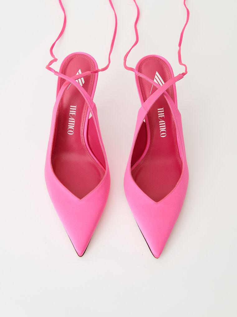 "The Attico Pink satin ""Venus"" slingback, heel height 85mm 2"