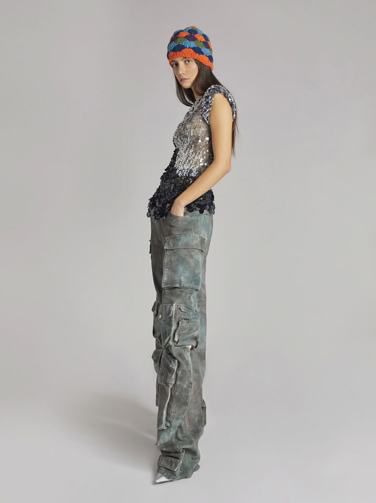 """THE ATTICO """"Fern"""" camouflage green pants 1"""