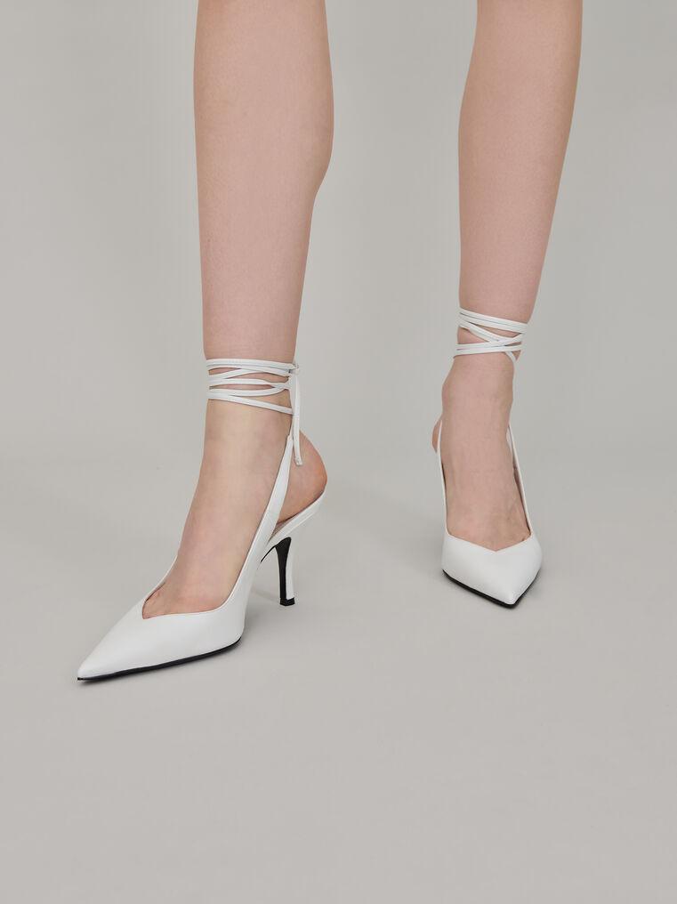 "The Attico White nappa leather ""Venus"" slingback, heel height 85mm 1"
