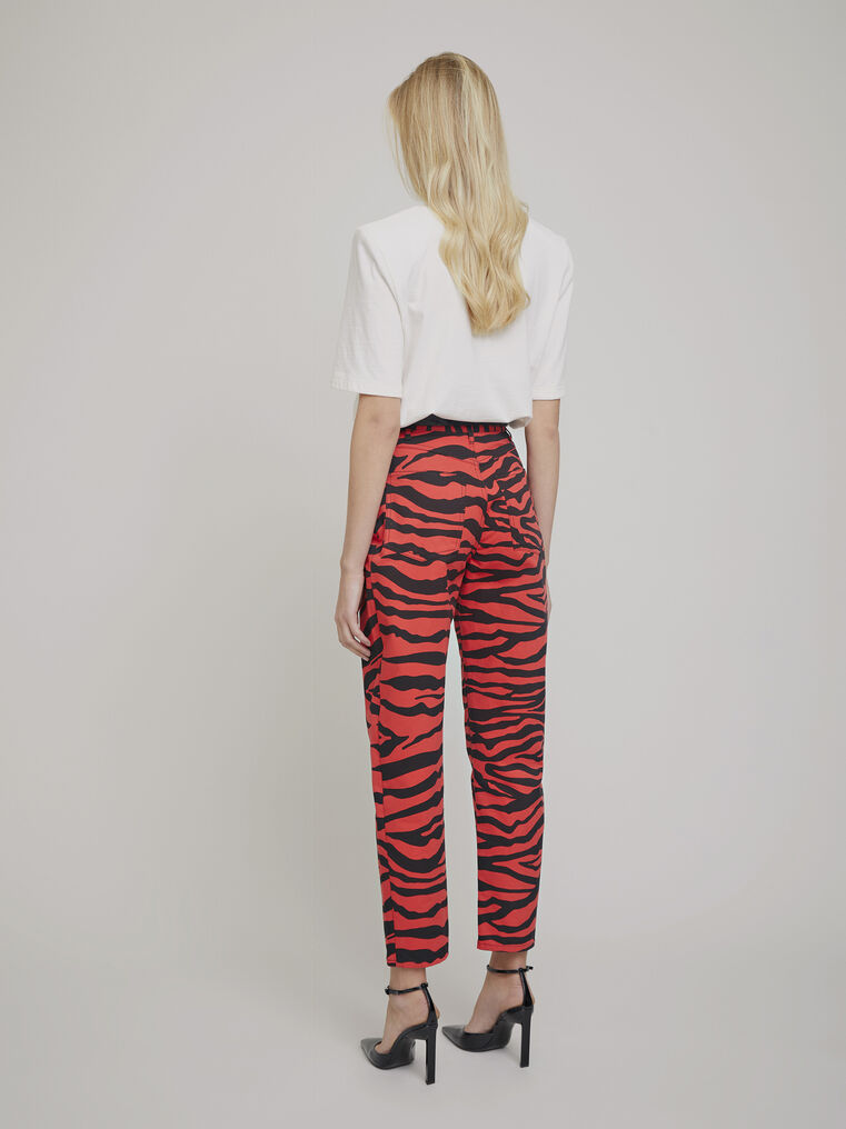 "The Attico ""Dua"" black and red  zebra printed pants 3"