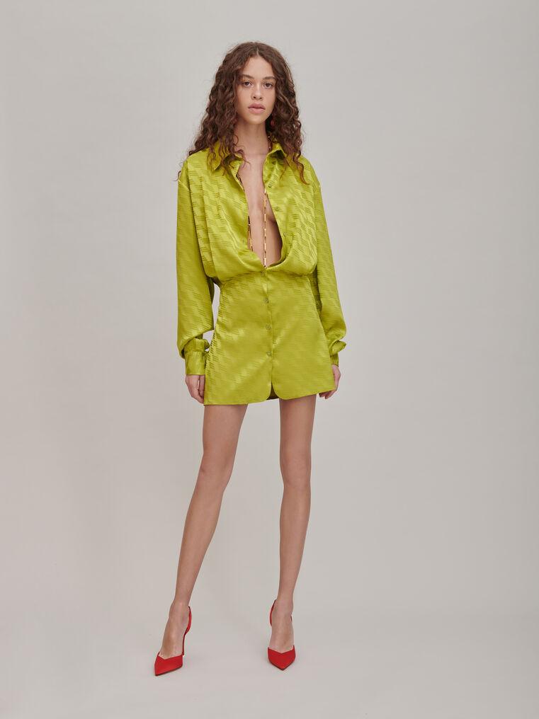"""The Attico """"Gigi"""" monogram pistache chemisier mini dress 1"""