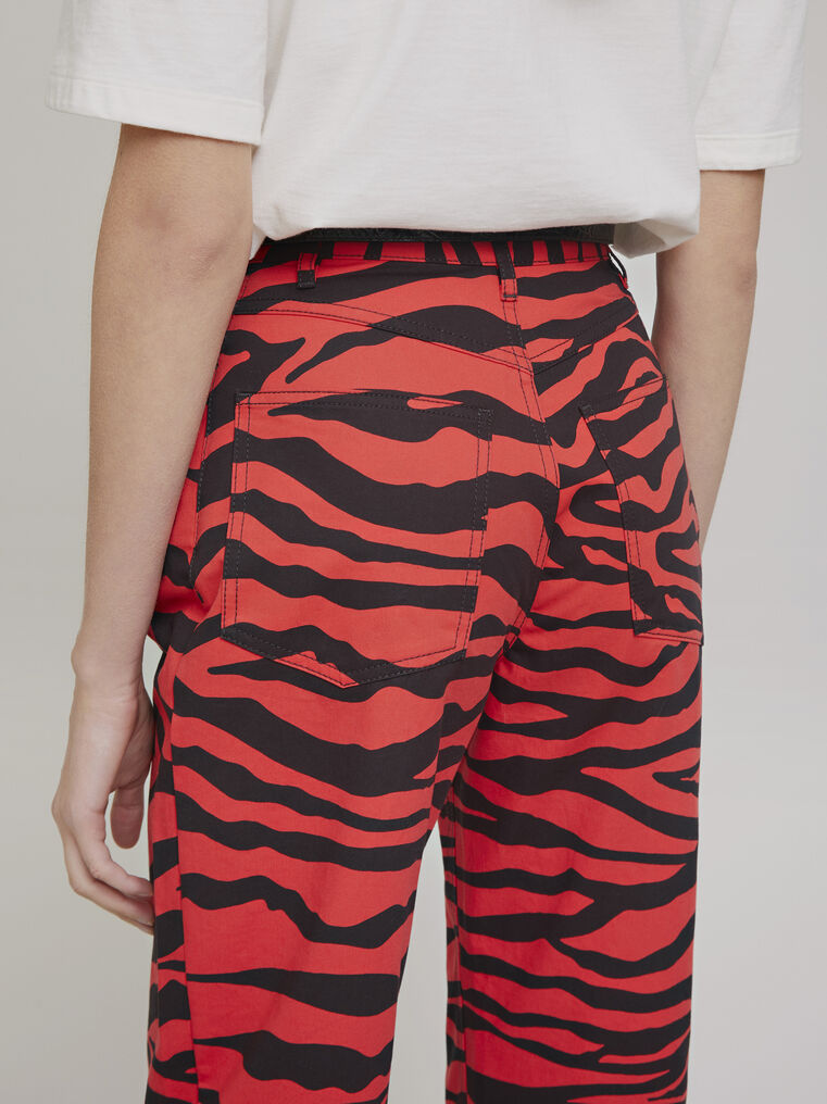 "The Attico ""Dua"" black and red  zebra printed pants 2"
