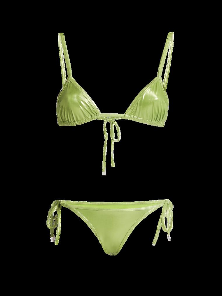 THE ATTICO Pear green metallic triangle bikini 4