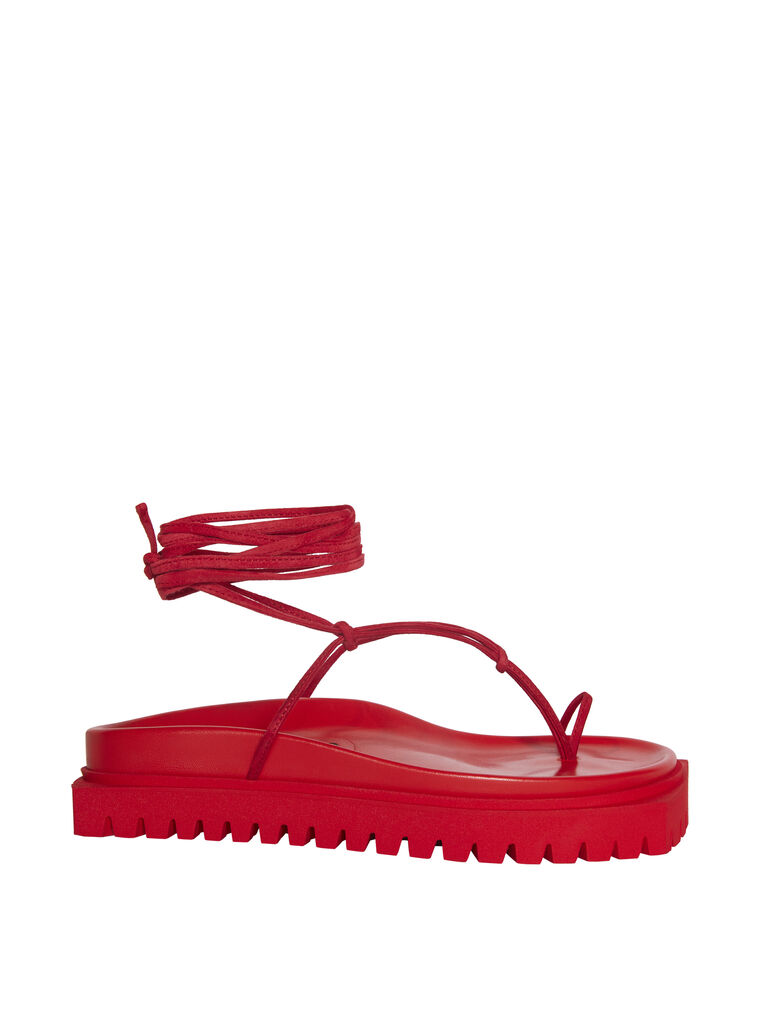 "THE ATTICO ""Renée"" red suede flat thong 4"