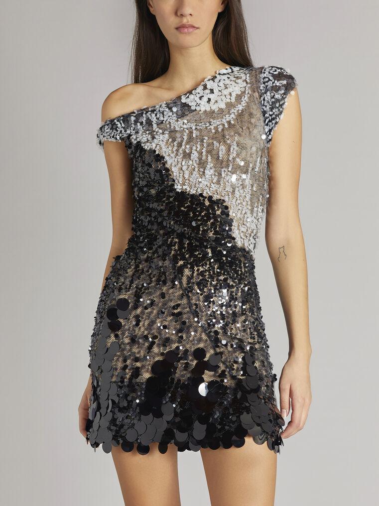 THE ATTICO Twisted iridescent black mini dress 2