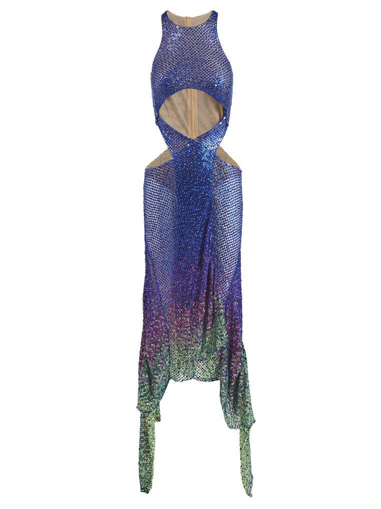 THE ATTICO ''Magnolia'' blue long dress 4
