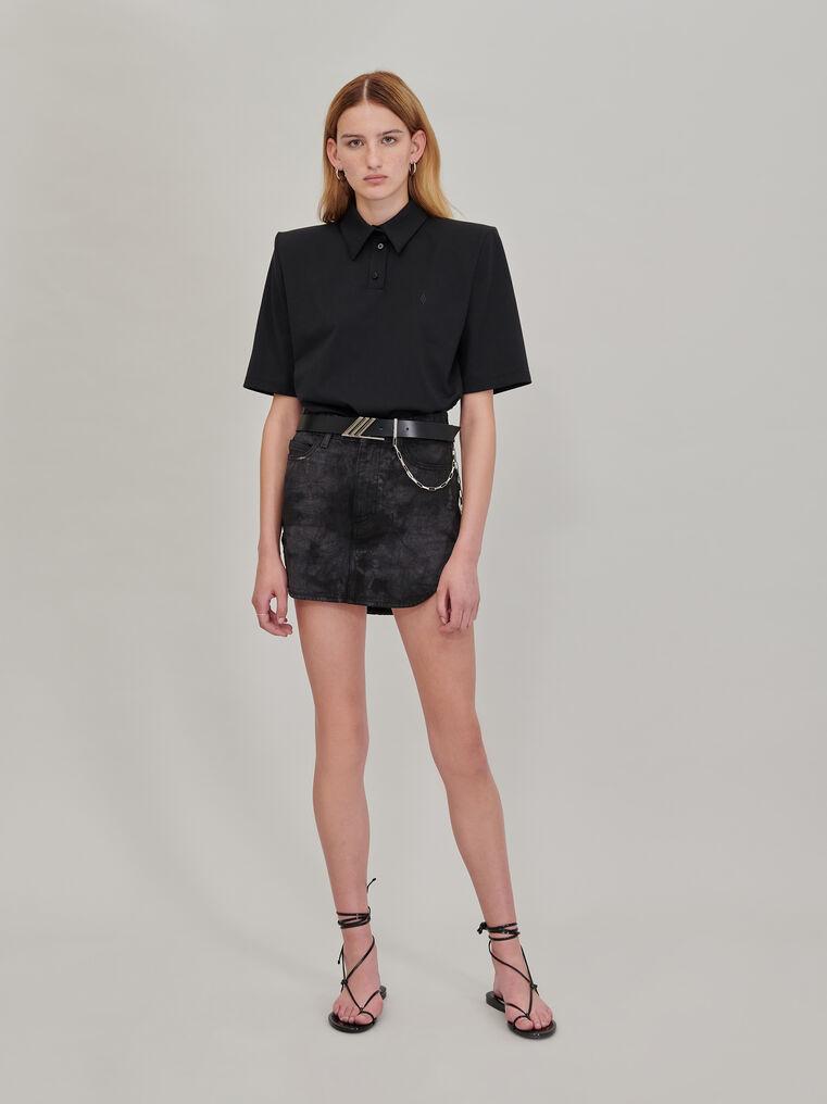 The Attico Black tie dye mini skirt with rounded hem 1
