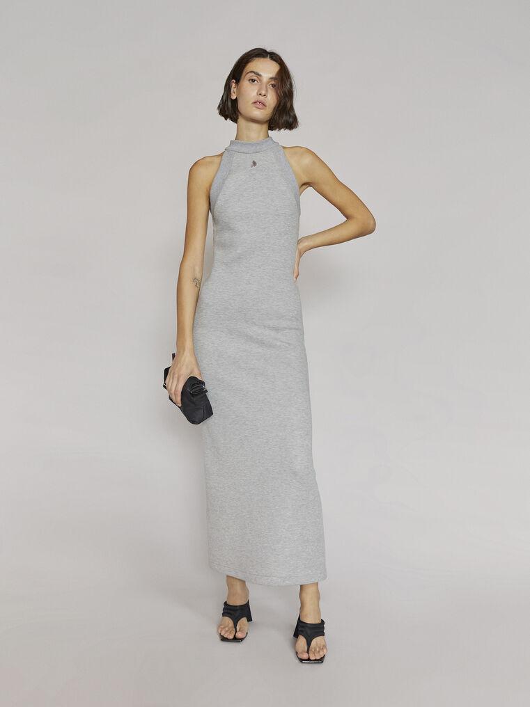 """THE ATTICO """"Ema"""" light grey long dress 1"""
