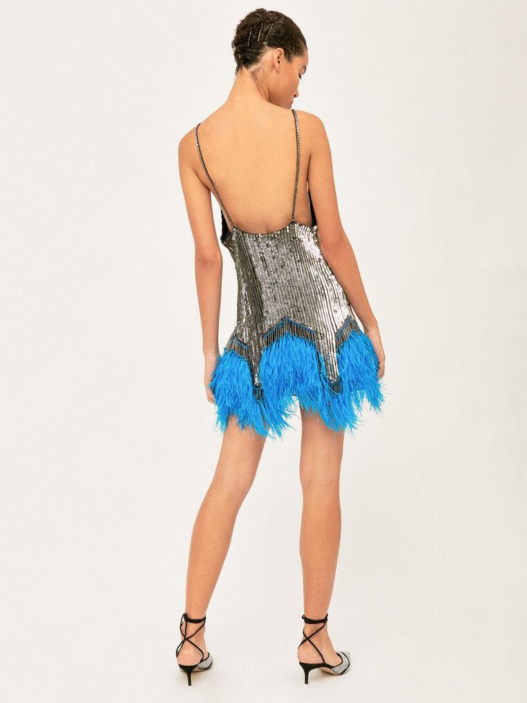 The Attico Embro And Ostrich Feathers Strapless Mini Dress 2
